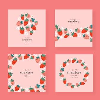 Plantillas de tarjetas de fresa, bordes decorativos con espacio de copia
