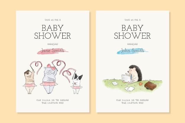 Plantillas de tarjetas de invitación de baby shower de dibujos animados de animales lindos