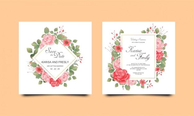 Plantillas de tarjetas de invitación de boda con hermosas rosas acuarelas