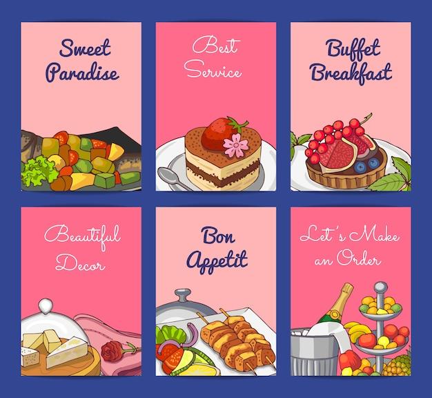 Plantillas de tarjetas o volantes con elementos de servicio de restaurante o habitación dibujados a mano