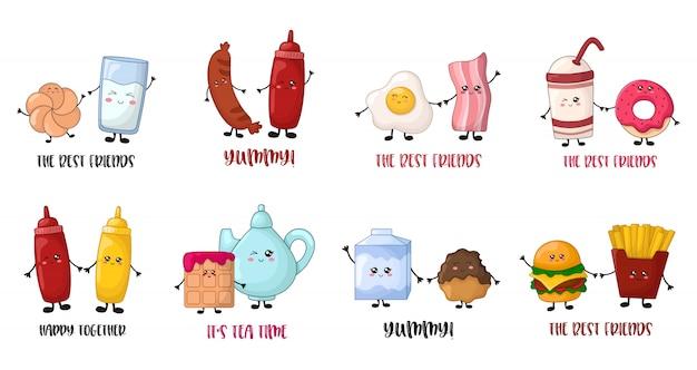 Plantillas de tarjetas con personajes de comida kawaii de dibujos animados