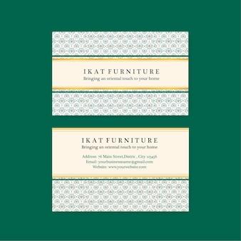 Plantillas de tarjetas de presentación con concepto ikat en estilo acuarela