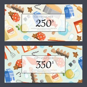 Plantillas de tarjetas de regalo o de regalo de ingridients o comestibles para cocinar