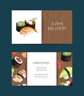 Plantillas de tarjetas de visita en estilo de dibujos animados para restaurante de sushi o clases de cocina.