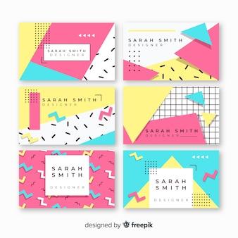 Plantillas de tarjetas de visita de estilo memphis