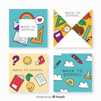Plantillas de tarjetas de la vuelta al cole dibujadas a mano