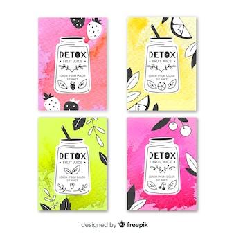 Plantillas de tarjetas de zumos desintoxicares en acuarela