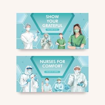 Con plantillas de twitter del día internacional de las enfermeras en estilo acuarela