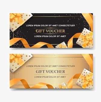 Plantillas de vales de regalo con caja de regalo dorada