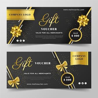 Plantillas de vales de regalo dorados