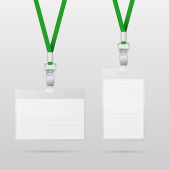 Plantillas de vectores para etiqueta de nombre con cordones verdes