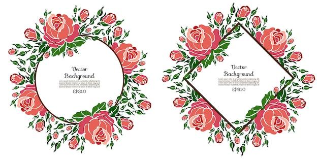 Plantillas de vectores florales con rosas