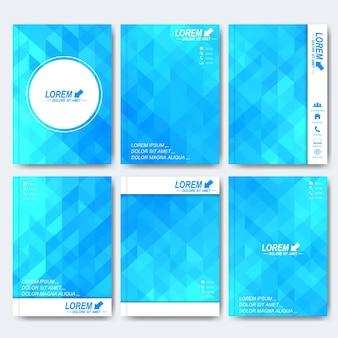 Plantillas vectoriales modernas para folletos, volantes, revistas de portada o informes en tamaño a4. diseño empresarial, científico, médico y tecnológico. fondo con triángulos azules.
