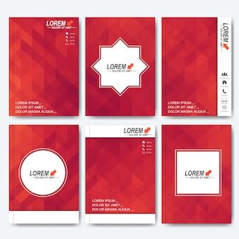 Plantillas vectoriales modernas para folletos, volantes, revistas de portada o informes en tamaño a4. diseño empresarial, científico, médico y tecnológico. fondo con triángulos rojos.