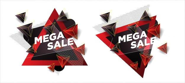 Plantillas de ventas con formas abstractas de triángulos