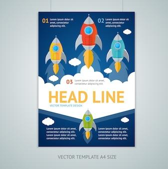 Plantillas de volante de folleto de cohete volador. concepto de puesta en marcha