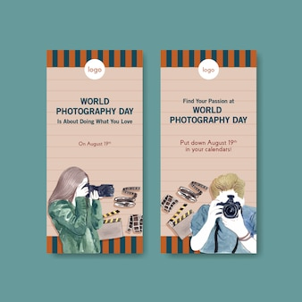 Plantillas de volantes para el día mundial de la fotografía