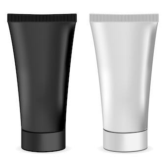 Plástico o metal realista 3d tubo de crema maqueta.