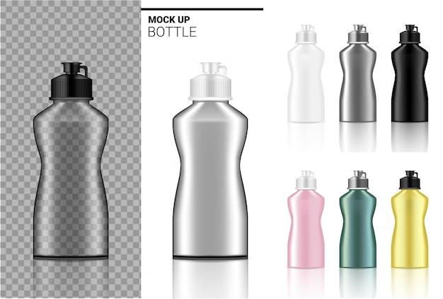 Plástico transparente blanco, negro y vidrio realista.