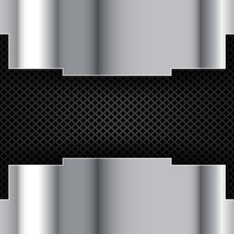 Plata cepillada de metal sobre un fondo perforado