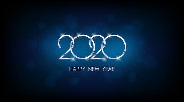 Plata feliz año nuevo 2020 con bokeh abstracto y patrón de destello de lente en fondo vintage color azul