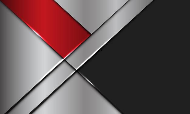 La plata metálica de la bandera roja abstracta se superpone con el fondo futurista moderno del diseño del espacio en blanco gris oscuro.
