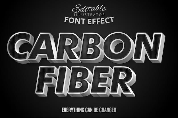 Plata metalizada y efecto de texto de patrón negro, estilo de alfabeto de acero brillante