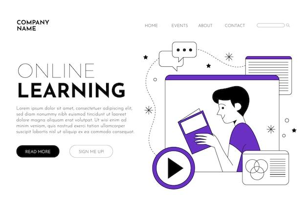 Plataforma de e-learning lineal plana