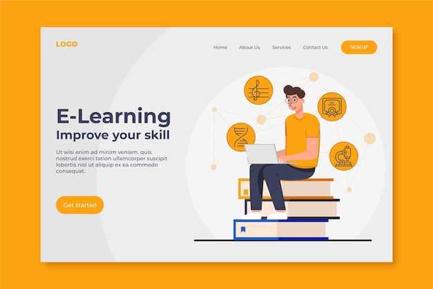 Plataforma de educación en línea plana lineal