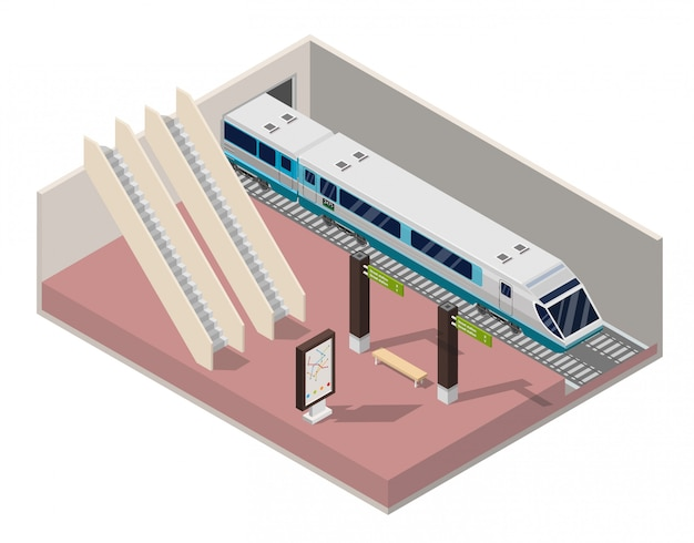 Plataforma de la estación de metro isométrica.