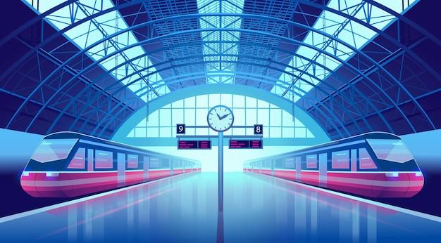 Plataforma de la estación de tren con modernos trenes de alta velocidad y un reloj.