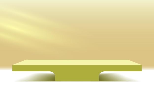 Plataforma de exhibición de productos con rayos de sol en la pared podio pedestal en blanco escenario de render 3d