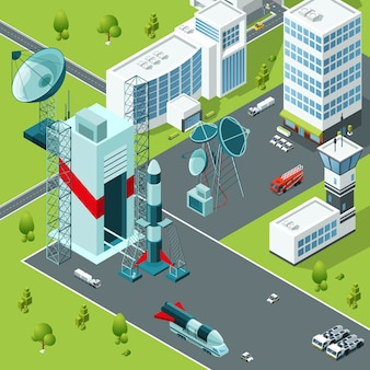 Plataforma de lanzamiento del puerto espacial. edificios isometricos
