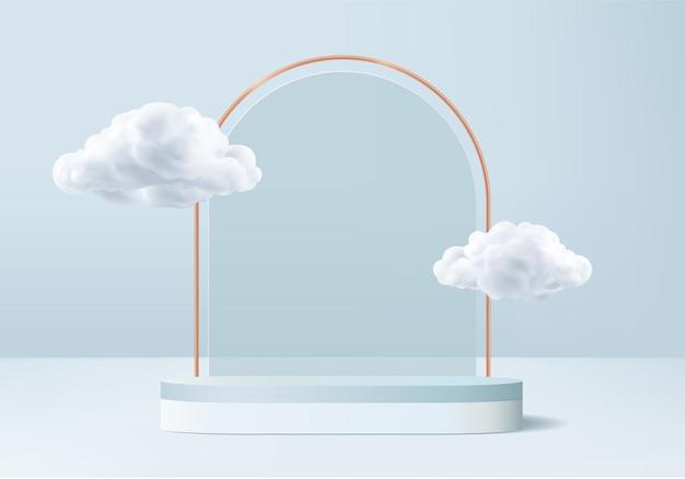 Plataforma moderna con cristal azul moderno. plataforma de podio de cristal de renderizado 3d.