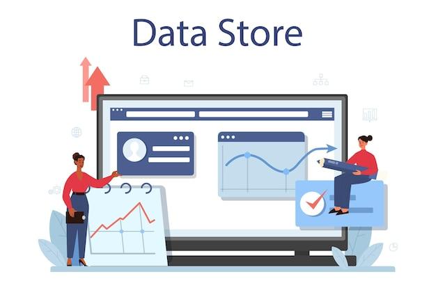 Plataforma o servicio en línea de análisis de big data empresarial. gráfico y gráfico, investigación de diagramas. realización de informe para optimización. almacén de datos. ilustración vectorial plana