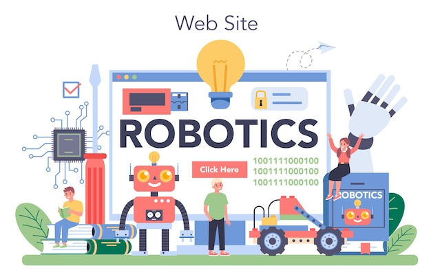 Plataforma o servicio en línea de asignaturas de robótica. ingeniería y programación de robots. idea de inteligencia artificial. sitio web. ilustración vectorial