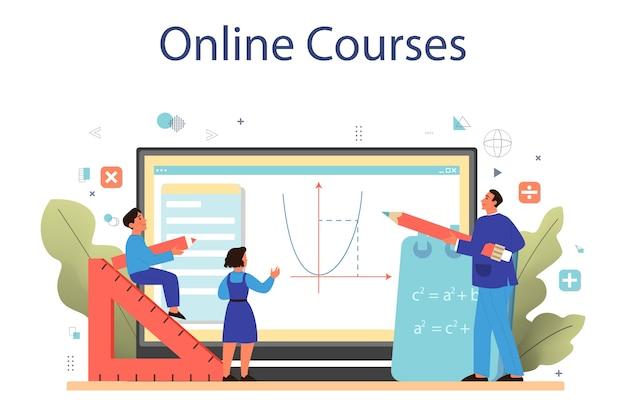 Plataforma o servicio en línea de la escuela de matemáticas. aprendiendo matemáticas, idea de educación y conocimiento. curso por internet.