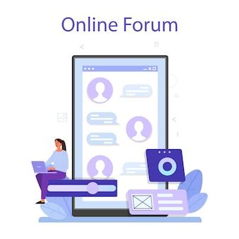 Plataforma o servicio en línea ux ui. mejora de la interfaz de la aplicación para el usuario. concepto de tecnología moderna. foro en línea. ilustración vectorial plana
