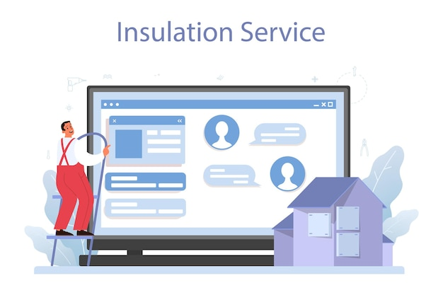 Plataforma o servicio online de aislamiento. aislamiento térmico o acústico. trabajador poniendo materiales aislantes. sitio web.