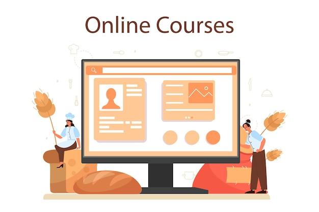 Plataforma o servicio online baker. chef en el pan de hornear uniforme. proceso de repostería. curso por internet. ilustración de vector aislado
