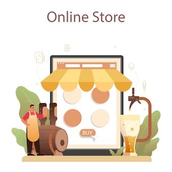 Plataforma o servicio online de cervecería. producción de cerveza artesanal, elaboración de cerveza