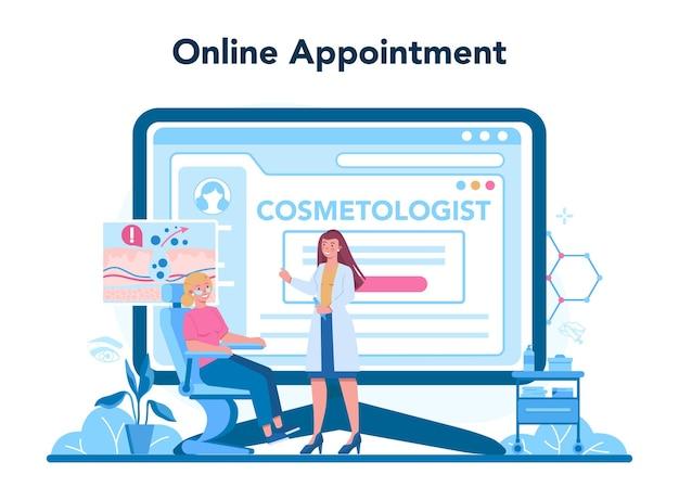 Plataforma o servicio online de cosmetóloga. mujer joven con problema de piel. tratamiento y limpieza de piel problemática. cita online. ilustración de vector aislado