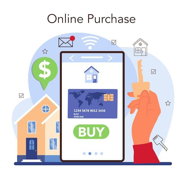 Plataforma o servicio online de la industria inmobiliaria. asistencia inmobiliaria y ayuda en la selección de la vivienda. compra en linea. ilustración vectorial plana