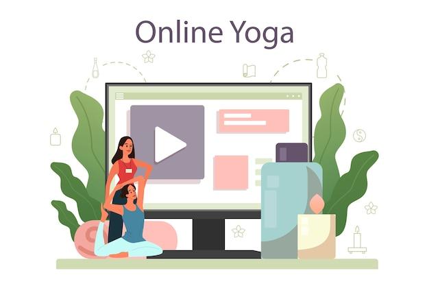 Plataforma o servicio online de instructor de yoga. asana o ejercicio para hombres y mujeres. salud fisica y mental. relajación corporal y meditación al aire libre. yoga en línea.