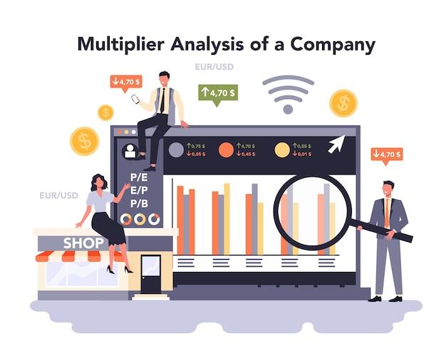 Plataforma o servicio online de marketing minorista. promoción de empresas, generación de ventas. estrategia de emprendimiento para el desarrollo empresarial. análisis multiplicador de una empresa. ilustración vectorial plana