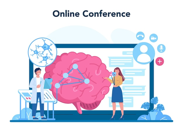 Plataforma o servicio online de psiquiatra. diagnóstico de salud mental. médico que trata la esquizofrenia, la demencia. conferencia online. ilustración vectorial