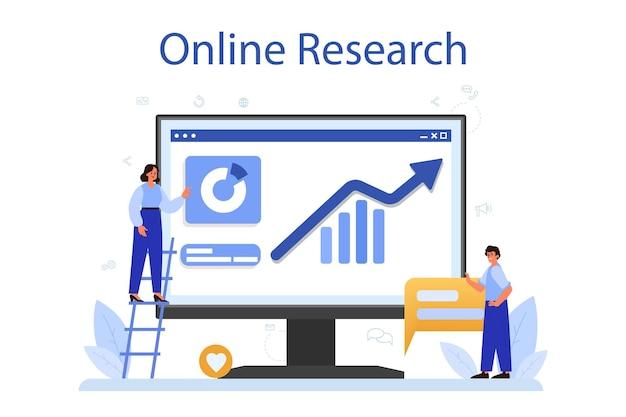Plataforma o servicio online smm. publicidad de negocios en internet a través de redes sociales. investigación en línea. ilustración plana aislada