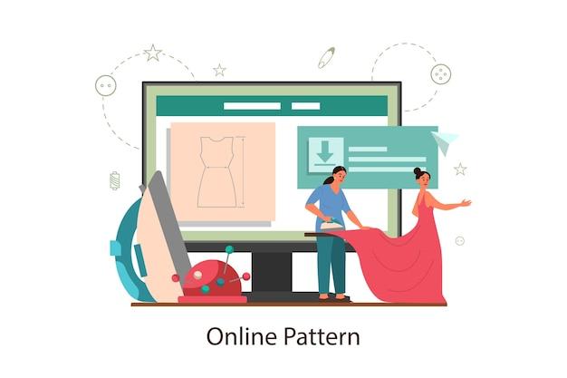 Plataforma de patrones en línea de costurera o sastre