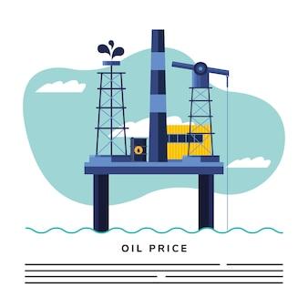 Plataforma petrolera y letras de precio del petróleo.