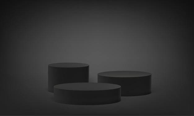 Plataforma de podio en soporte base 3d, pedestal de escenario redondo vectorial en gris negro